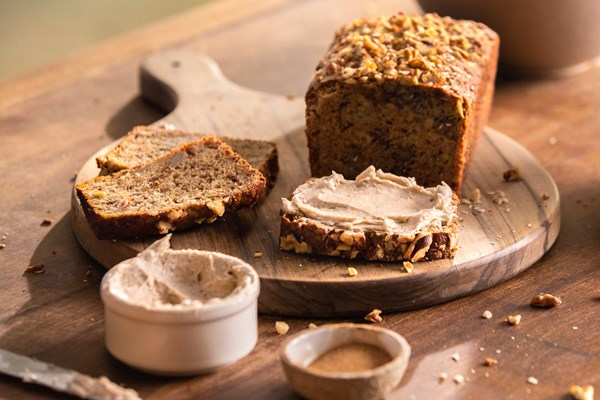 BANANA BREAD SERVED WITH WHIPPED CINNAMON BUTTER